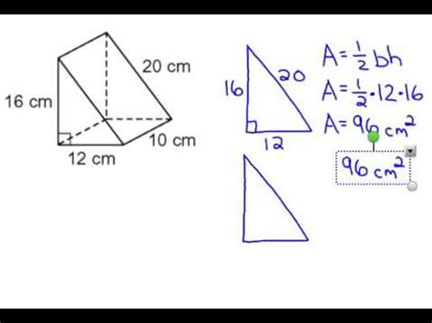 triangular prism surface area youtube