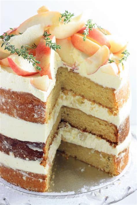 white nectarine thyme limoncello cake   larder