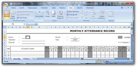 class monthly attendance report