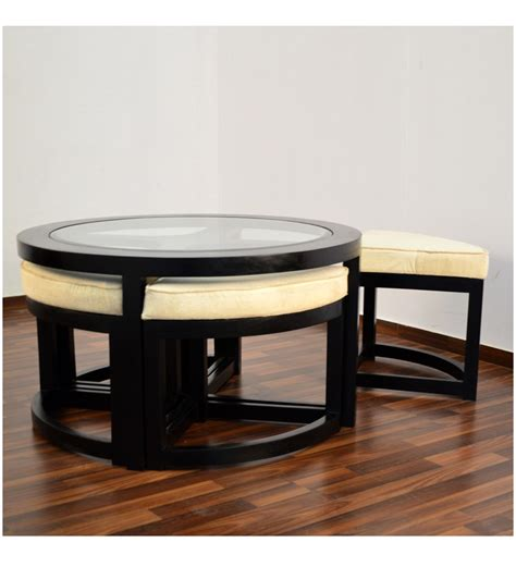coffee table with stools underneath india black forest coffee table with 4 stools by mudra