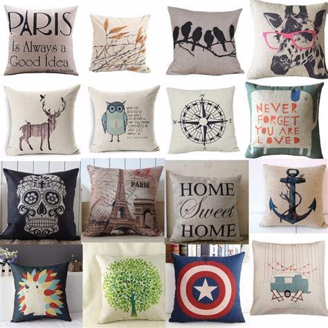 hot vintage home decor cotton linen pillow case sofa waist throw cushion cover ebay