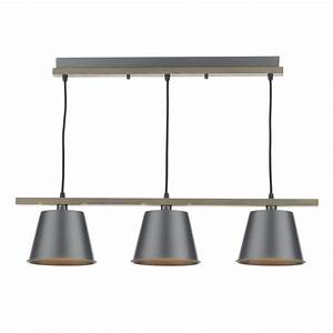 Bar pendant ceiling light in natural wood with grey metal