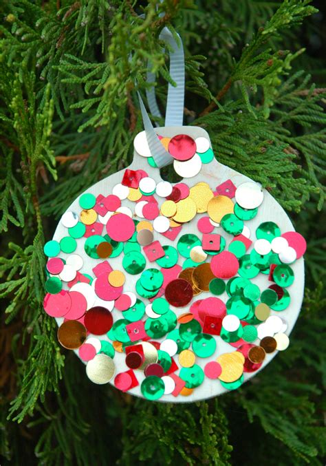 christmas ornament project for pre k sequin ornaments what can we do with paper and glue
