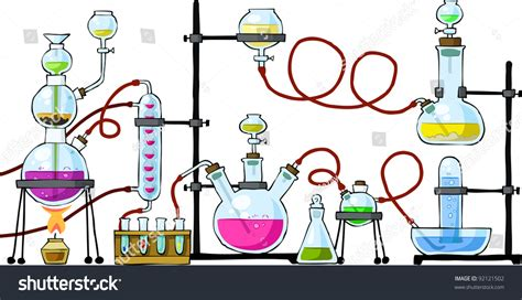 Chemical Laboratory On White Background Vector เวกเตอร์