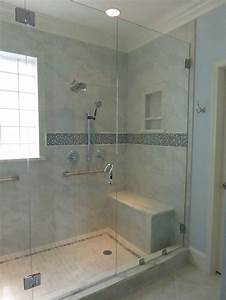 Spa Style Master Bath Shower With Bench Seating  Heated Floors  Glass Mosaic Tile Detail And