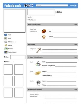 Fakebook Template Fakebook Template By Justin Ford Teachers Pay