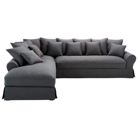 canapé d angle mistergooddeal canapé d 39 angle gauche 6 places en coton gris ardoise