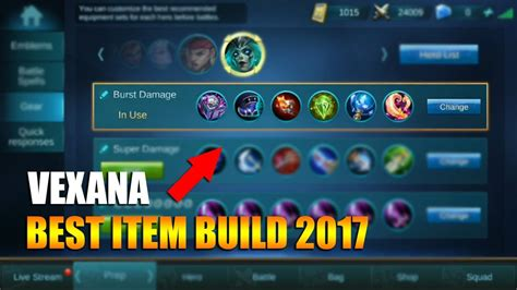 Mobile Legends Vexana Best Mvp Gear Items Build (2017