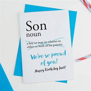 Son Personalised Birthday Card By A Is For Alphabet