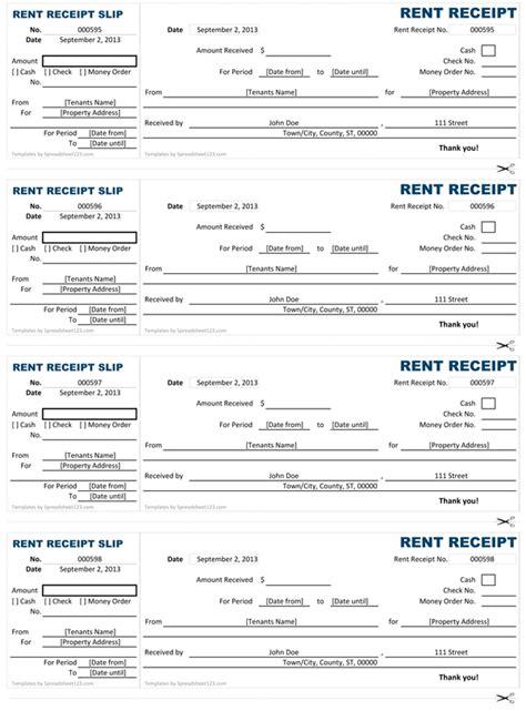 rent receipt template uk printable receipt template