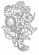 Coloring Flowers Bouquet Pages Printable Print Flower Sheets Tiki sketch template