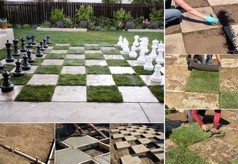 outdoor chess table diy yard chessboard patio inhabitots 1290