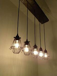 Bulb reclaimed wood chandelier industrial rustic ceiling