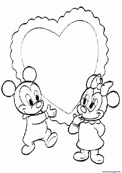 Coloring Valentine Minnie Mickey Mouse Printable Disney