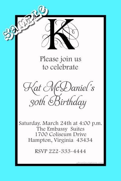 monogram birthday invitations  letter  color scheme