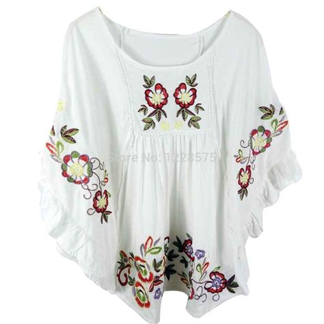 embroidered peasant blouse free shipping flowers cotton blouse vintage blouse