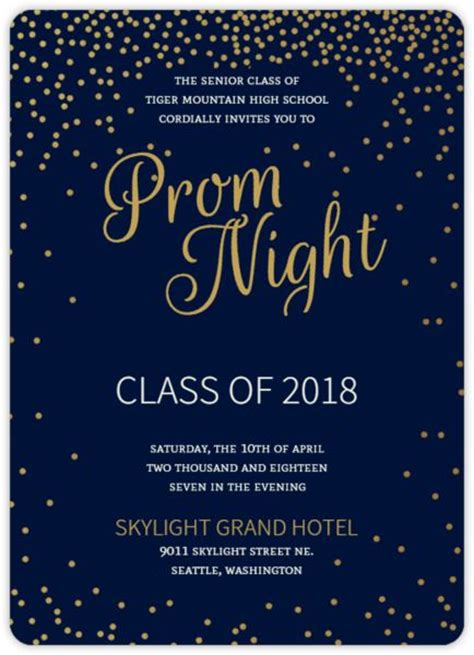 golden confetti stars prom invitation prom decor starry