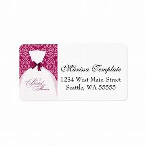 damask bridal shower hot pink wedding dress personalized With bridal shower address labels
