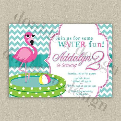 chevron flamingo birthday invitation swim  water party