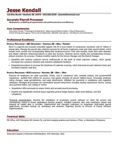 free payroll processor resume exle