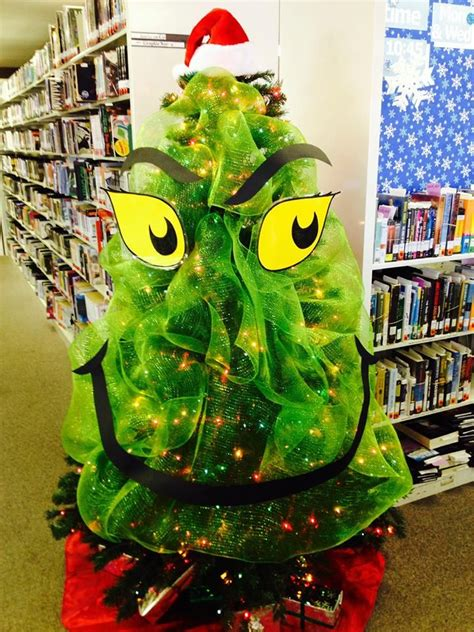 grinch christmas tree library displays pinterest
