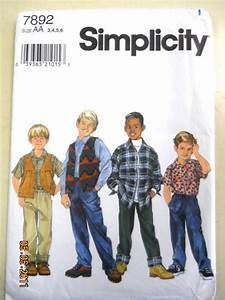 Simplicity 7892 Boy's Shirt, Vest and Pants Size 3,4,5, 6 ...