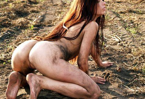 Street Park Bare Bikini Pink Braids With Fantastic Рўummy In Mud