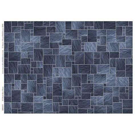 dark slate floor tile sheet   scale dolls house