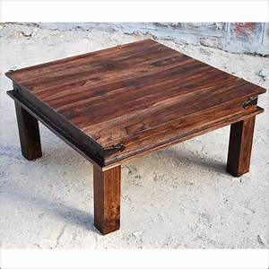 35quot rustic large square coffee table espresso solid wooden With real wood square coffee table