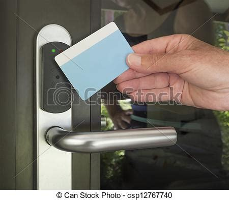 key card security entry hand touch keycard  hotel door