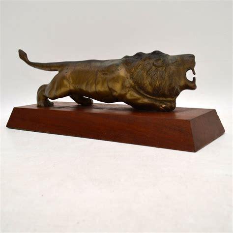 antique bronze sculpture   lion marylebone antiques