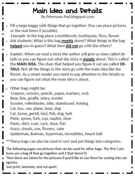 idea and supporting details worksheets 3rd grade