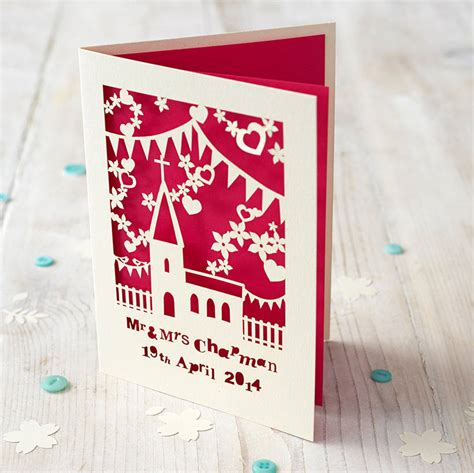 personalised papercut church wedding card  pogofandango
