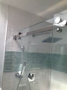 Glass Tile Bathroom Ideas by Accent Band Just Above Center And Is That A Shower