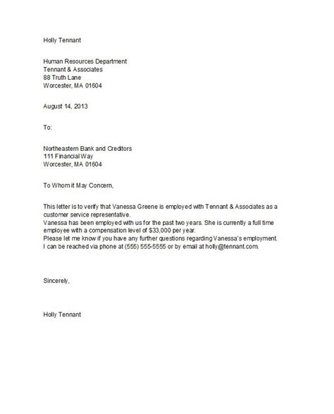 proof of employment letter template 40 proof of employment letters verification forms templates sles free template downloads