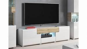 Tv Board Weiß Eiche : tv board toledo lowboard in wei hochglanz und eiche san remo hell ~ Buech-reservation.com Haus und Dekorationen