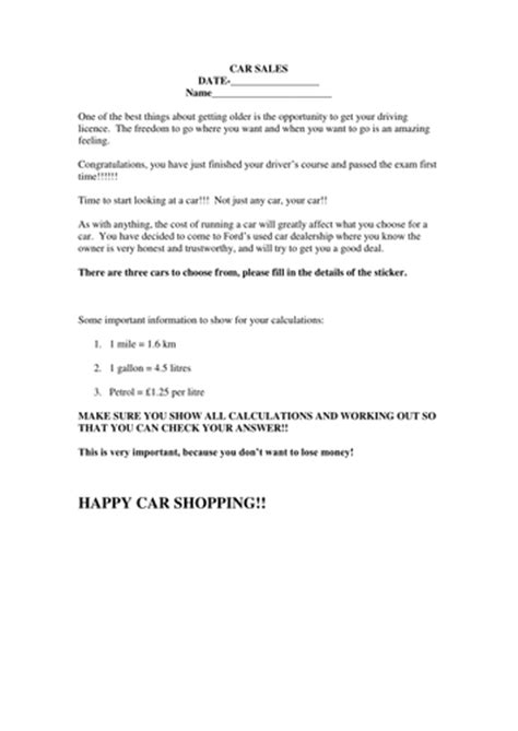 buying my first car percentage project worksheets by