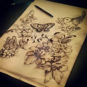 Butterfly flower tattoo by Malitia-tattoo89 on DeviantArt