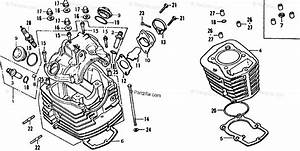 Honda Motorcycle 1977 Oem Parts Diagram For Cylinder Head  U0026 Cylinder