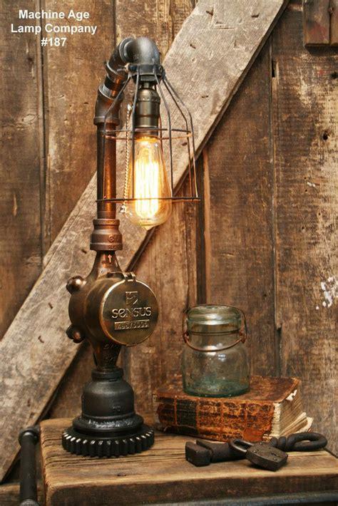 Steampunk Lamp Antique Water Meter Gear Base