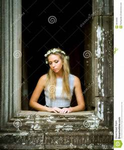 Beautiful, Lonely Fairytale Princess Waiting At Tower ...