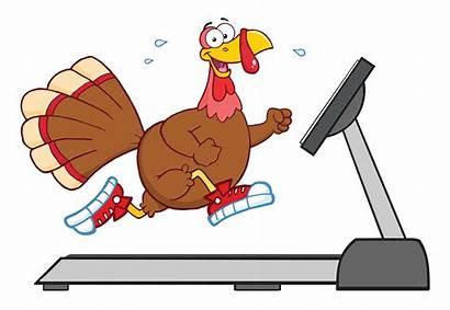Turkey Running Thanksgiving Cartoon Smiling Treadmill Character