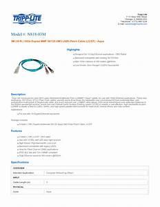 Multimode Fiber Optics 3-meter N818-03m Manuals
