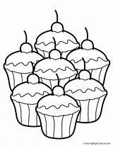 Cupcake Coloring Print sketch template