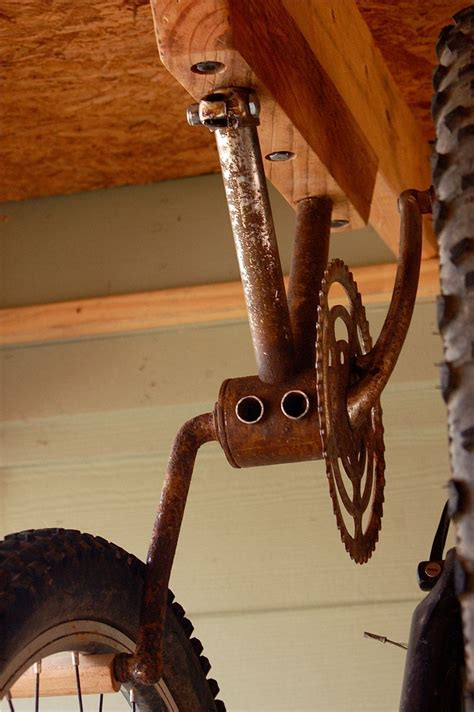 ceiling bike rack etsy bike rack for 2 bikes from antique bike gear and pedals