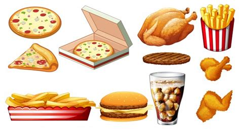 different types of cuisine different types of fastfood and drink illustration vector free