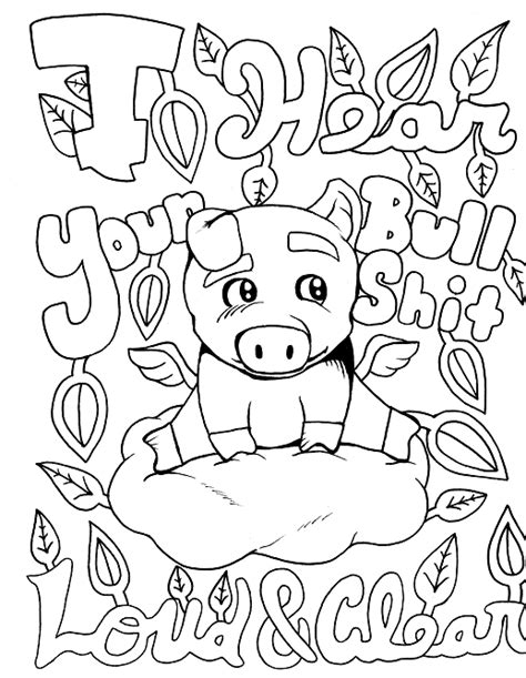 Pig Adult Coloring page swear 14 FREE printable