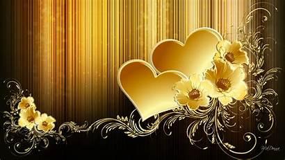 Gold Hearts Golden Flowers Wallpapers Desktop