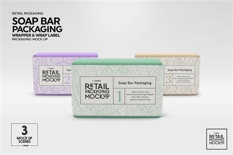 Each psd file measures 4500 x 3500 px at 300 dpi, is neatly layered, and equipped with smart objects for easy branding. Retail Soap Bar Packaging Mockup