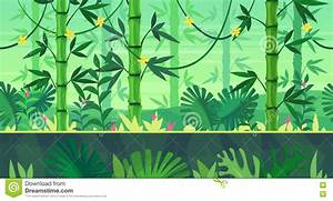 Cartoon Nature Seamless Landscape With Jungle Stock Vector ...